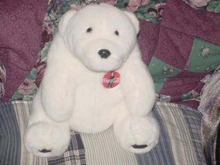 11 Coca Cola White Polar Bear Large Plush 1993 Nice