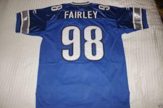 Nick Fairley 98 Detroit Lions Blue NFL Jersey Size 48 50 Med Large