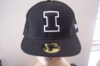 New Era Illinois Fighting Illini 59Fifty Black Wht Baseball Hat Cap 7