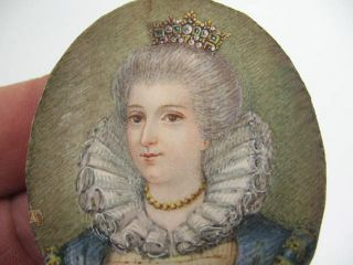 Antique Hand Painted Miniature Portrait of Royal Lady Crown on