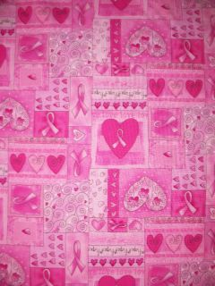Breast Cancer Hearts We Love We Care Cotton Fabric FQ