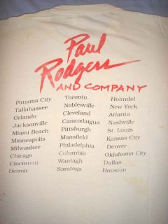 Paul Rodgers and Bad Company White Vintage 1990s Concert Tour T Shirt