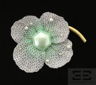 fabrice paris purple teal large flower brooch