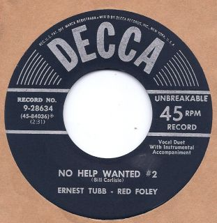 Ernest Tubb Red Foley No Help Wanted 2 Youre A Rral Good Friend Decca