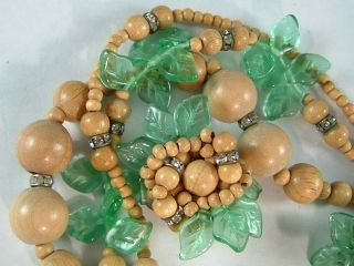 EUGENE EARRINGS & NECKLACE GLASS LEAF Bead Flowers Chunky Clip Back