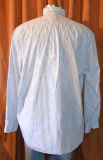 Faconnable Long Sleeve Blue White Brown 100 Cotton Checkered Shirt