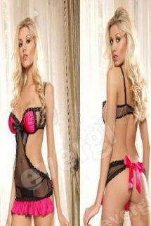 Sexy Lingerie Babydoll Dress G string Mesh Black Women Clothes Lace