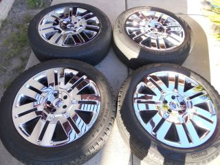 20 FACTORY OEM FORD EDGE CHROME CLAD WHEELS AND TIRES 18 22 3701