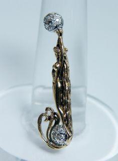 Designer Erte Russian Antique Nouveau Diamond Nude 14k Gold Pendant