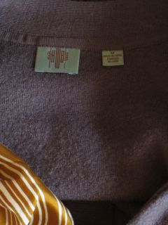 Anthropologie HWR Gray Silk Scarf Ruffle Boiled Wool Cardigan Sweater