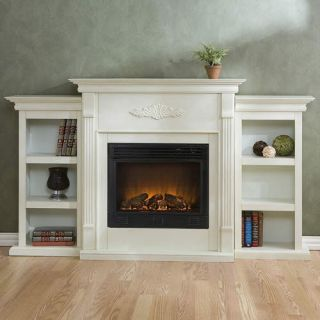 SOLD OUT) WHITE ELECTRIC FIREPLACE w/ BOOKSHELVES & REMOTE   70W