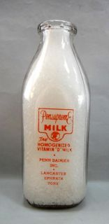 vintage Glass Quart Pensupreme VitaminD Milk Bottle Duraglas