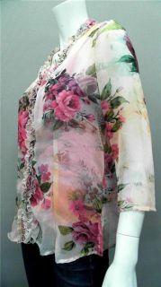 Faith Vintage Ladies Womens XS Soft Jewel Neck Blouse Top Pink Floral