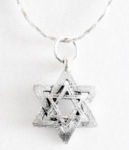 Double Star Within Star Jewish Star of David Necklace