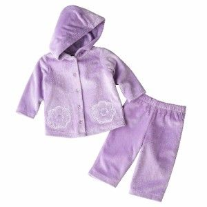 Girls First Moments Floral Chenille Hooded Jacket Pant Set Sz 3 Months