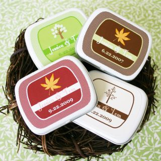 Personalized Fall Autumn Mint Tins Wedding Favor Boxes Favors