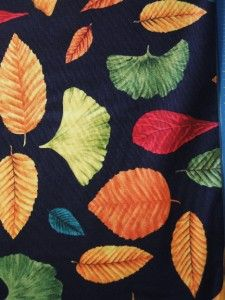 Autumn Song Fall Leaves Leaf Ginkgo Blank Quilting Black Fabric Yard