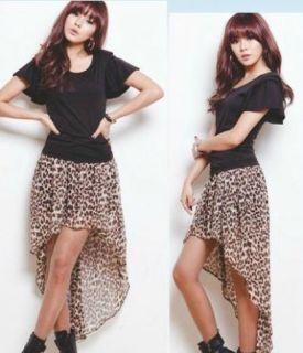 Japan Korea Fashion Girls Basic Skirt Asymmetrical Colorful Leopard
