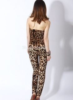 Womens Backless Sexy Leopard Clubwear Party Wrapped Chest Jumpsuit