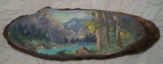 Estes Park Co Colorado Vintage Hand Painted Wood Picture Lost Lake
