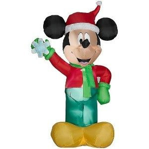 Disney Mickey Snowflake Santa Christmas Airblown Inflatable Outdoor