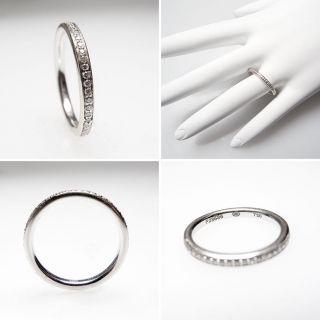 Estate Genuine Diamond Eternity Band Wedding Ring Solid 18K White Gold