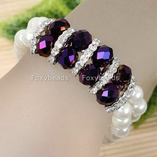 1P Purple Crystal Glass Faux Pearl Bracelet 6L New