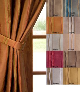 Embroidered Faux Silk Curtain 2 Panels Gold 50W x 120L