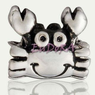 lovely crab Eudora silver screw charm bead fit bracelet S781