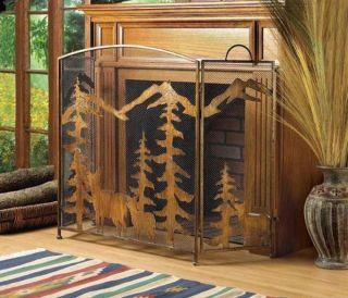 Deer Pine Trees Mountains Fireplace Screen Lodge Decor