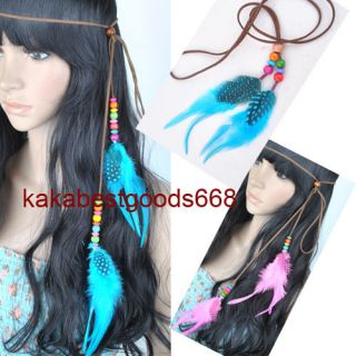 New Fashion 1pcs Real Feather Hair Extensions Headband 10Colours PP91