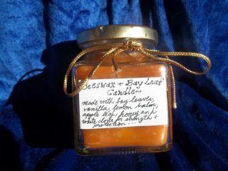 OOAK Handmade Beeswax Honey Herbal jar Candle Homemade Candle