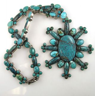 FEDERICO JIMENEZ HUGE TURQUOISE CLUSTER NECKLACE STERLING SILVER