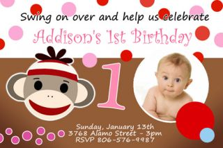 Birthday Party Invitation Photo 1st Custom C1 Card 9 Designs