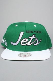 The New York Jets Script 2 Tone Snapback Cap in White & Green