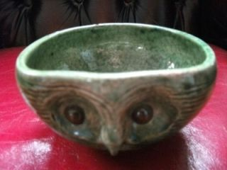 Old Antique Green Farnham Pottery Owl Bowl Country Pottery Arts and