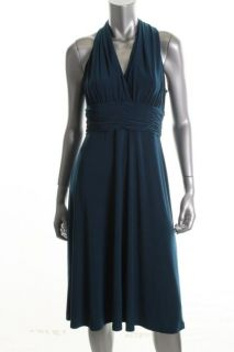 Evan Picone New Blue Matte Jersey Ruched Halter Cocktail Dress Petites
