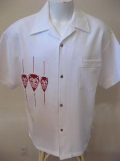 White Bad Boy Flame Buttons Sewn on Red Devils Bowling Shirt L