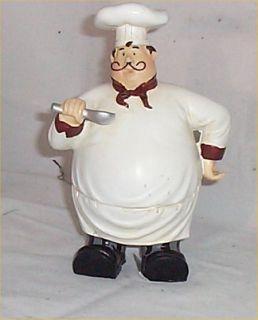 Fat Chef Waiter Figurine Bistro Kitchen Decoration French Decor Spoon