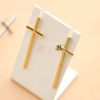 E1285 New Fashion Korea Star Style Tone Long Gold Cross Stud Earrings