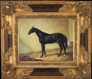 Everard Nice Horse In Stable_Original Oil Painting+Wood Frame