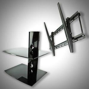New Tilt Flat Screen TV Wall Mount for 32 37 42 46 50 52 60 2 Tier DVD