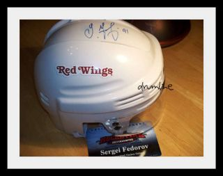 SERGEI FEDOROV DETROIT RED WINGS SIGNED AUTOGRAPHED MINI HELMET COA