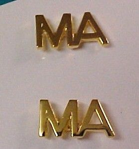 Medical Assistant MA Lapel Pin Tac Set 2 Gold Plate New