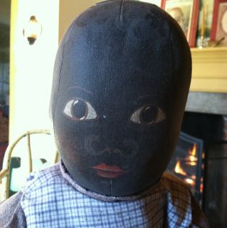 Wonderful Large Vintage Black Primitive Folk Art Rag Doll