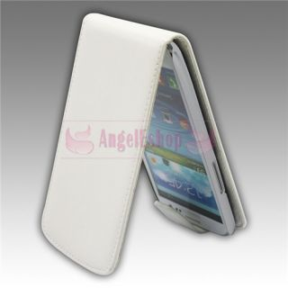 White Flip PU Leather Case Screen Protector Pen for Samsung i9300