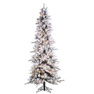 Inc Flocked Tree Narrow Pencil Pine Artificial Christmas Tree 5820 75C