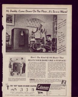 1944 Vintage Ad Coleman Oil Heater Daddy A Warm Floor