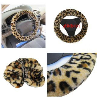 Sheepskin Soft Furry Leopard Steering Wheel Cover Fit Ford