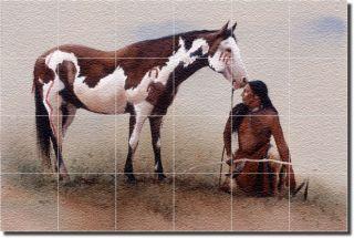 Native American Indians Art Wall Floor Glass Tile Mural